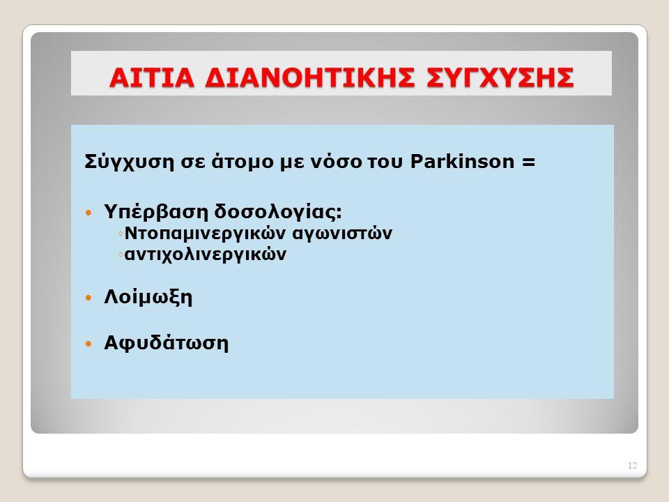 12 AΙΤΙΑ ΔΙΑΝΟΗΤΙΚΗΣ ΣΥΓΧΥΣΗΣ Σύγχυση σε άτομο με νόσο του Parkinson = Υπέρβαση δοσολογίας: ◦Ντοπαμινεργικών αγωνιστών ◦αντιχολινεργικών Λοίμωξη Αφυδά
