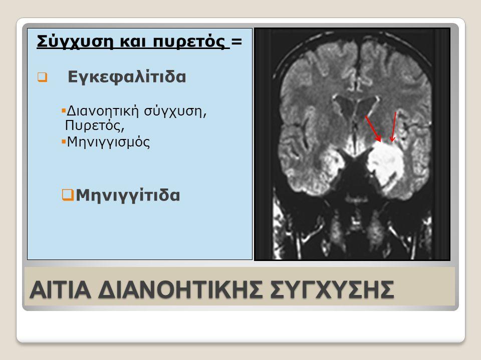 AΙΤΙΑ ΔΙΑΝΟΗΤΙΚΗΣ ΣΥΓΧΥΣΗΣ Σύγχυση και πυρετός =  Eγκεφαλίτιδα  Διανοητική σύγχυση, Πυρετός,  Mηνιγγισμός  Mηνιγγίτιδα