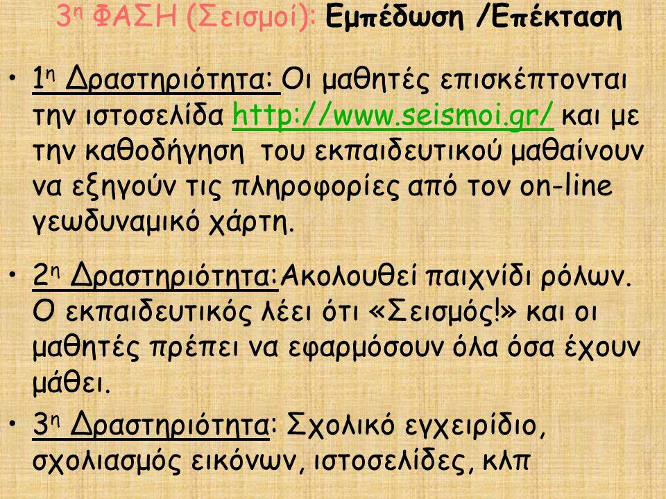1 η Δραστηριότητα: Οι μαθητές επισκέπτονται την ιστοσελίδα http://www.seismoi.gr/ και με την καθοδήγηση του εκπαιδευτικού μαθαίνουν να εξηγούν τις πληροφορίες από τον on-line γεωδυναμικό χάρτη.http://www.seismoi.gr/ 2 η Δραστηριότητα:Ακολουθεί παιχνίδι ρόλων.