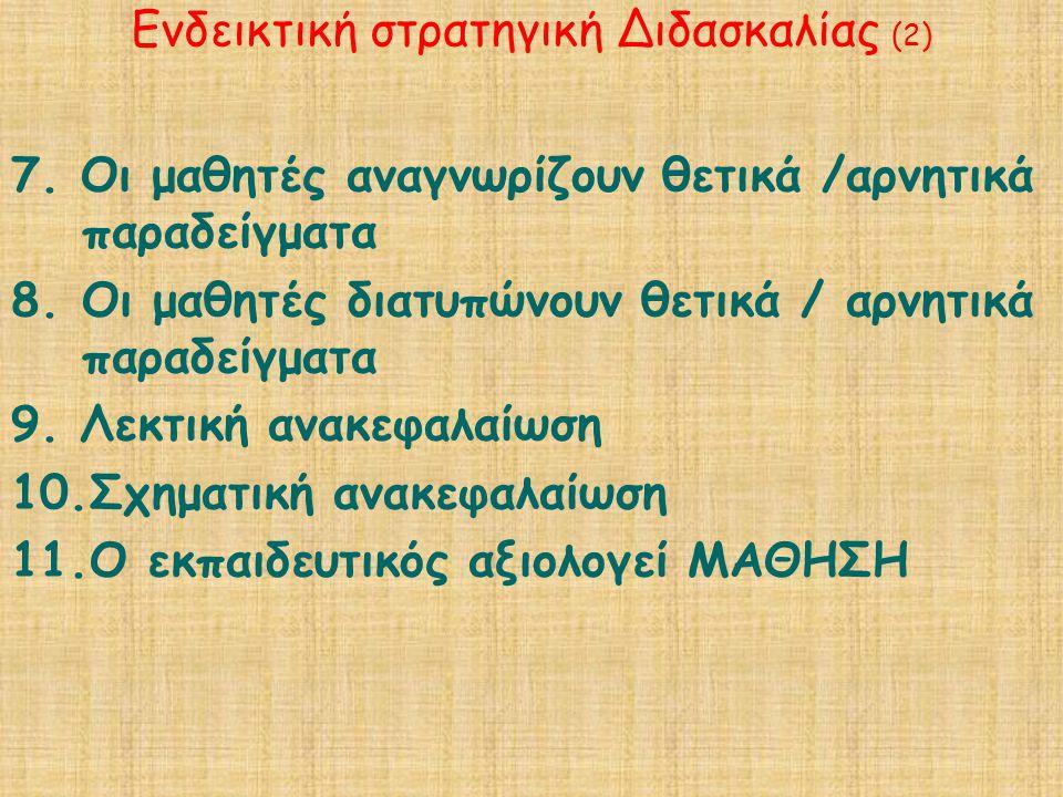 Ενδεικτική στρατηγική Διδασκαλίας (2) 7.