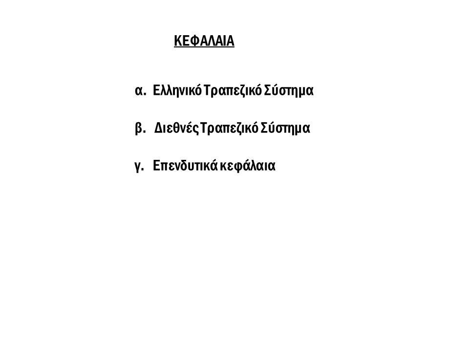 ΚΕΦΑΛΑΙΑ α. Ελληνικό Τραπεζικό Σύστημα β. Διεθνές Τραπεζικό Σύστημα γ. Επενδυτικά κεφάλαια
