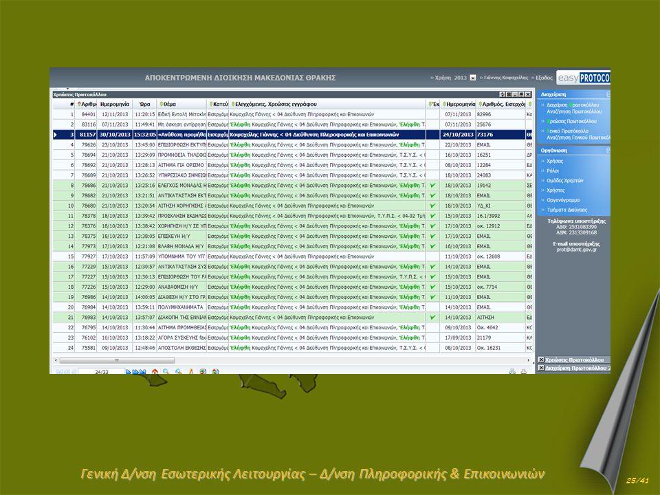 Γενική Δ/νση Εσωτερικής Λειτουργίας – Δ/νση Πληροφορικής & Επικοινωνιών 25/41