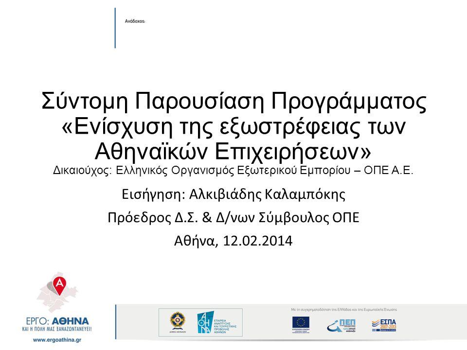 Σύντομη Παρουσίαση Προγράμματος «Ενίσχυση της εξωστρέφειας των Αθηναϊκών Επιχειρήσεων» Δικαιούχος: Ελληνικός Οργανισμός Εξωτερικού Εμπορίου – ΟΠΕ Α.Ε.