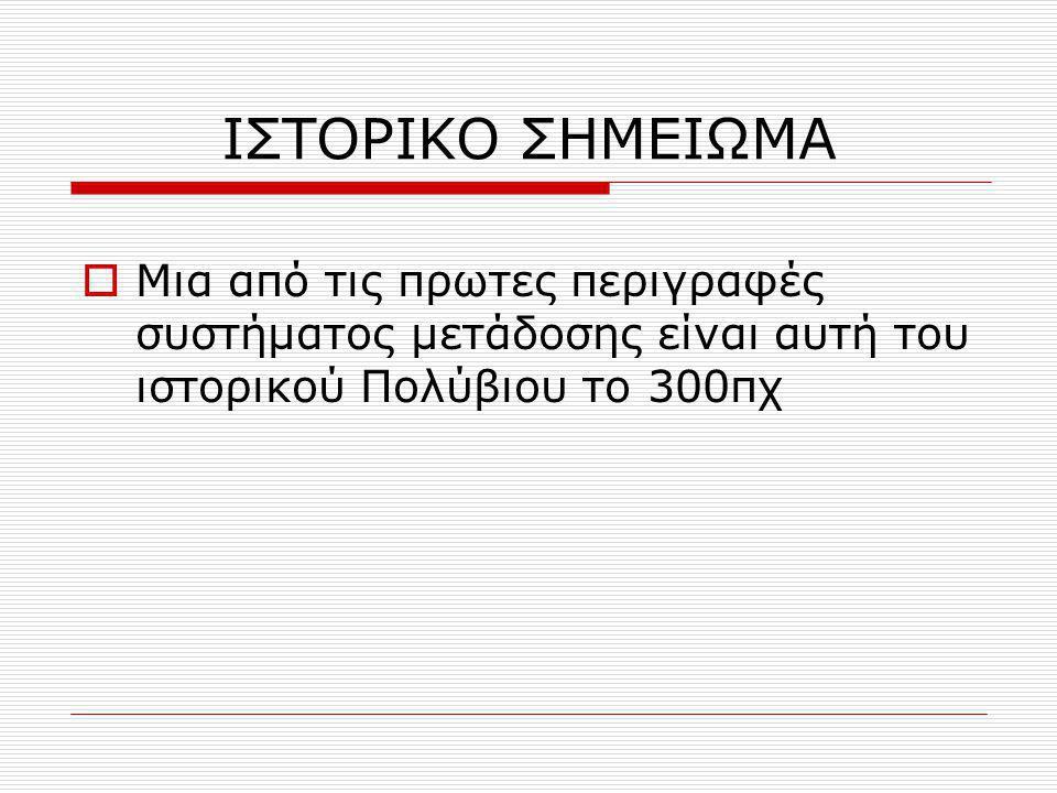 ΙΣΤΟΡΙΚΟ ΣΗΜΕΙΩΜΑ  Μια από τις πρωτες περιγραφές συστήματος μετάδοσης είναι αυτή του ιστορικού Πολύβιου το 300πχ