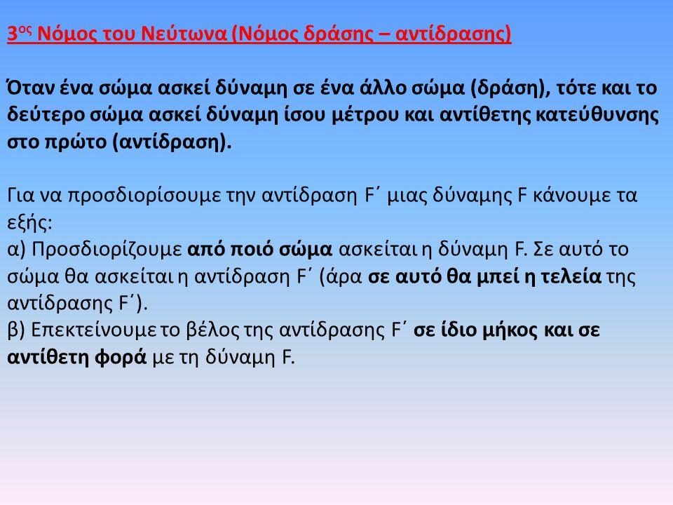 3 ος Νόμος του Νεύτωνα (Νόμος δράσης – αντίδρασης) Όταν ένα σώμα ασκεί δύναμη σε ένα άλλο σώμα (δράση), τότε και το δεύτερο σώμα ασκεί δύναμη ίσου μέτρου και αντίθετης κατεύθυνσης στο πρώτο (αντίδραση).