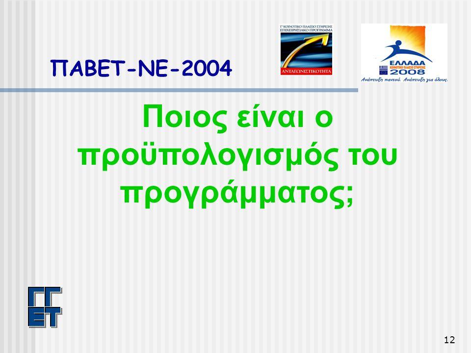12 ΠΑΒΕΤ-ΝΕ-2004 Ποιος είναι ο προϋπολογισμός του προγράμματος;