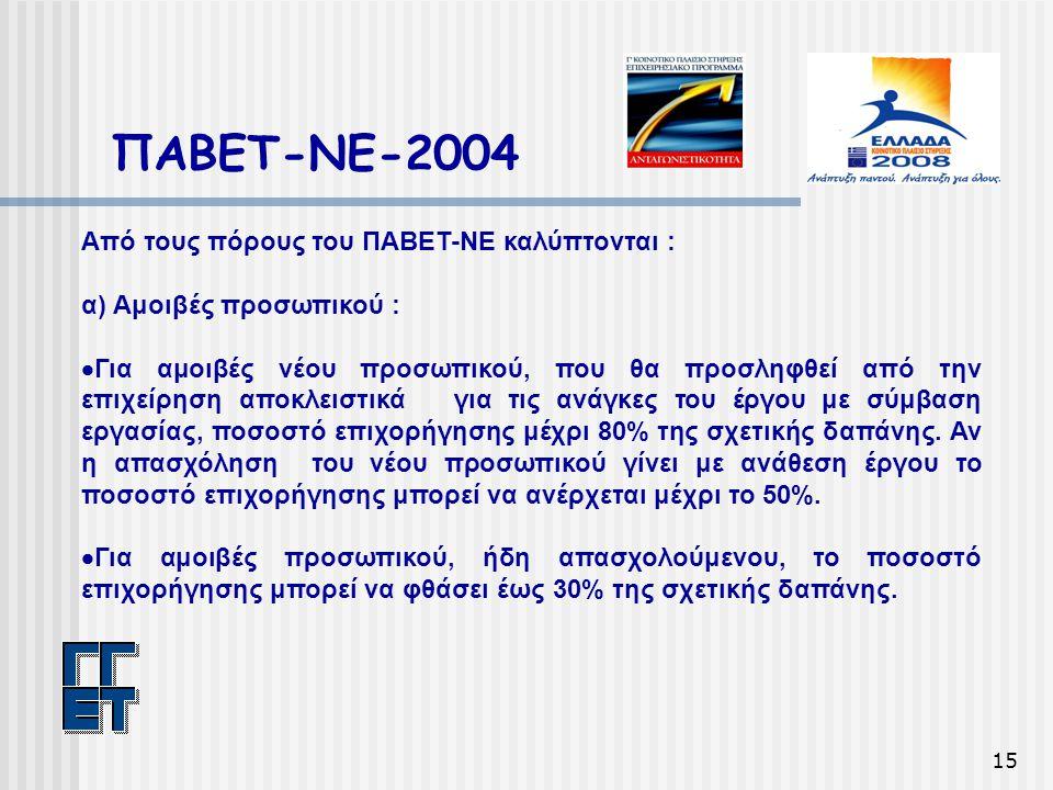 15 ΠΑΒΕΤ-ΝΕ-2004 Από τους πόρους του ΠΑΒΕΤ-ΝΕ καλύπτονται : α) Αμοιβές προσωπικού :  Για αμοιβές νέου προσωπικού, που θα προσληφθεί από την επιχείρηση αποκλειστικά για τις ανάγκες του έργου με σύμβαση εργασίας, ποσοστό επιχορήγησης μέχρι 80% της σχετικής δαπάνης.