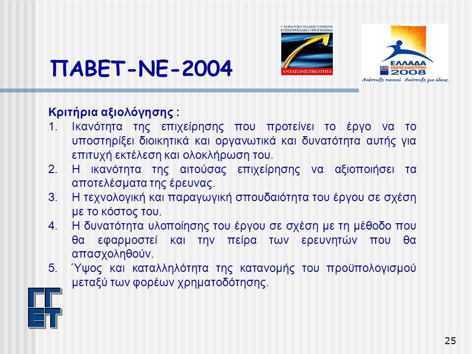 25 ΠΑΒΕΤ-ΝΕ-2004 Κριτήρια αξιολόγησης : 1.Ικανότητα της επιχείρησης που προτείνει το έργο να το υποστηρίξει διοικητικά και οργανωτικά και δυνατότητα α