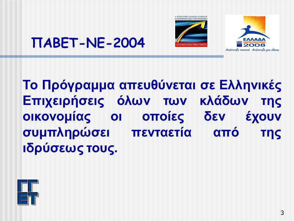 3 ΠΑΒΕΤ-ΝΕ-2004 Το Πρόγραμμα απευθύνεται σε Ελληνικές Επιχειρήσεις όλων των κλάδων της οικονομίας οι οποίες δεν έχουν συμπληρώσει πενταετία από της ιδρύσεως τους.