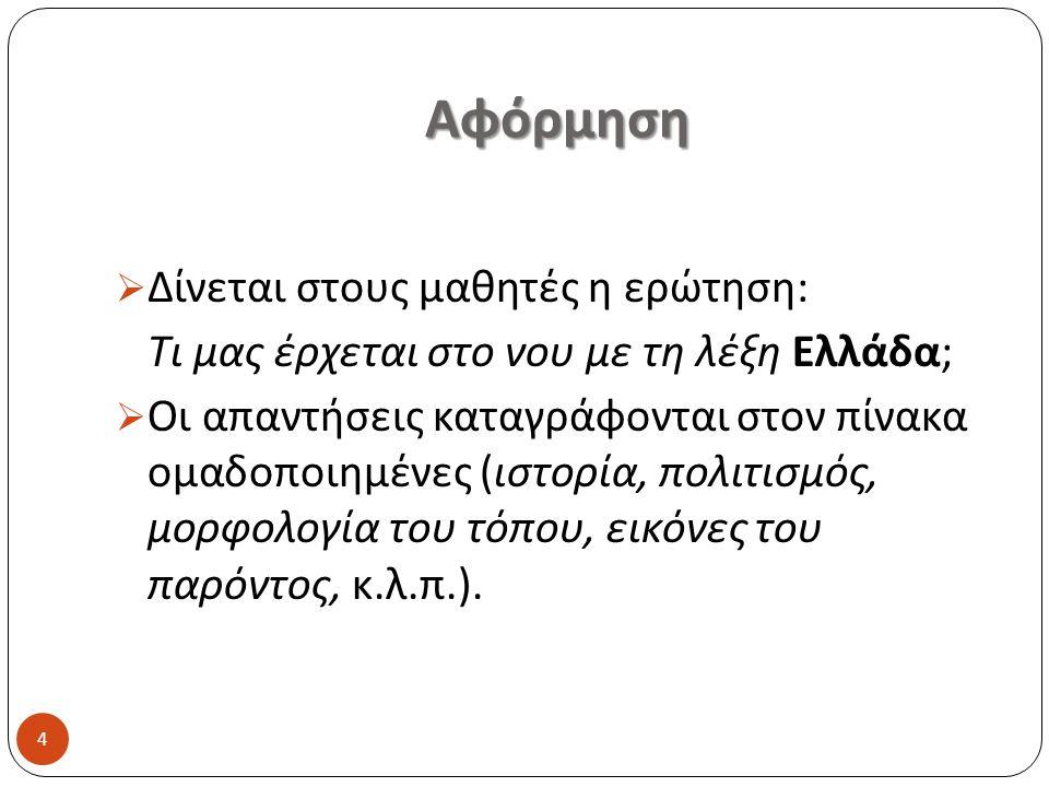 Αφόρμηση  Δίνεται στους μαθητές η ερώτηση : Τι μας έρχεται στο νου με τη λέξη Ελλάδα ;  Οι απαντήσεις καταγράφονται στον πίνακα ομαδοποιημένες ( ιστ