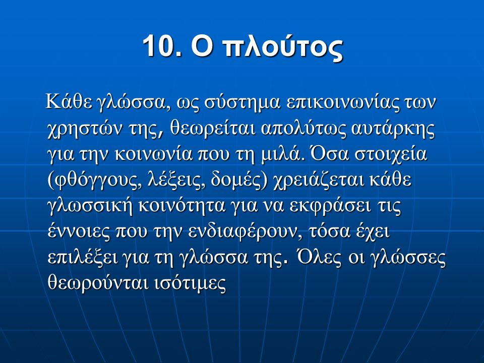9. Προτεραιότητα του προφορικού λόγου Η γραφή έχει αναπαραστατική, αρχειακή ή μνημειακή λειτουργία Η γραφή έχει αναπαραστατική, αρχειακή ή μνημειακή λ