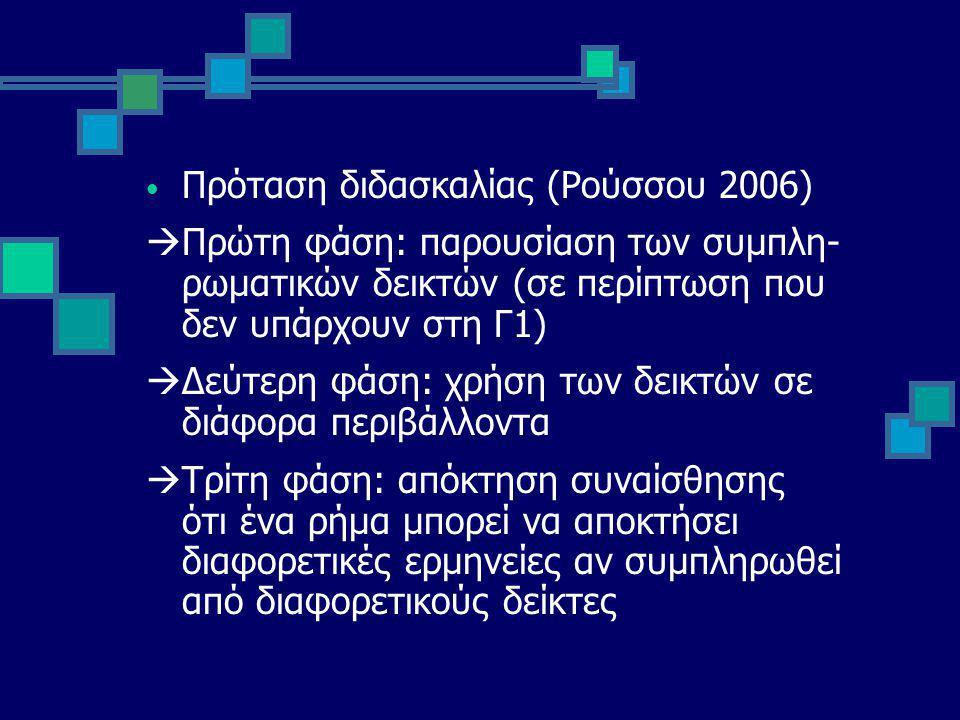 Πρόταση διδασκαλίας (Ρούσσου 2006)  Πρώτη φάση: παρουσίαση των συμπλη- ρωματικών δεικτών (σε περίπτωση που δεν υπάρχουν στη Γ1)  Δεύτερη φάση: χρήση των δεικτών σε διάφορα περιβάλλοντα  Τρίτη φάση: απόκτηση συναίσθησης ότι ένα ρήμα μπορεί να αποκτήσει διαφορετικές ερμηνείες αν συμπληρωθεί από διαφορετικούς δείκτες