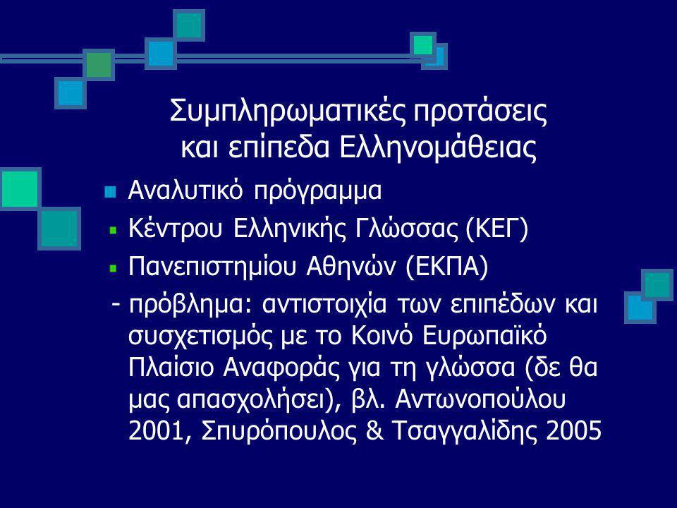 Συμπληρωματικές προτάσεις και επίπεδα Ελληνομάθειας Αναλυτικό πρόγραμμα Κέντρου Ελληνικής Γλώσσας (ΚΕΓ) Πανεπιστημίου Αθηνών (ΕΚΠΑ) - πρόβλημα: αντιστοιχία των επιπέδων και συσχετισμός με το Κοινό Ευρωπαϊκό Πλαίσιο Αναφοράς για τη γλώσσα (δε θα μας απασχολήσει), βλ.