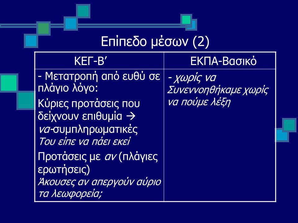 Επίπεδο μέσων (2) ΚΕΓ-Β' ΕΚΠΑ-Βασικό - Μετατροπή από ευθύ σε πλάγιο λόγο: Κύριες προτάσεις που δείχνουν επιθυμία  να-συμπληρωματικές Του είπε να πάει εκεί Προτάσεις με αν (πλάγιες ερωτήσεις) Άκουσες αν απεργούν αύριο τα λεωφορεία; - χωρίς να Συνεννοηθήκαμε χωρίς να πούμε λέξη
