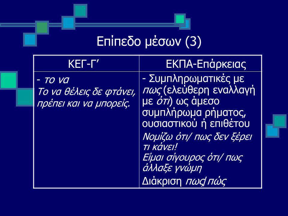 Επίπεδο μέσων (3) ΚΕΓ-Γ' ΕΚΠΑ-Επάρκειας - το να Το να θέλεις δε φτάνει, πρέπει και να μπορείς.