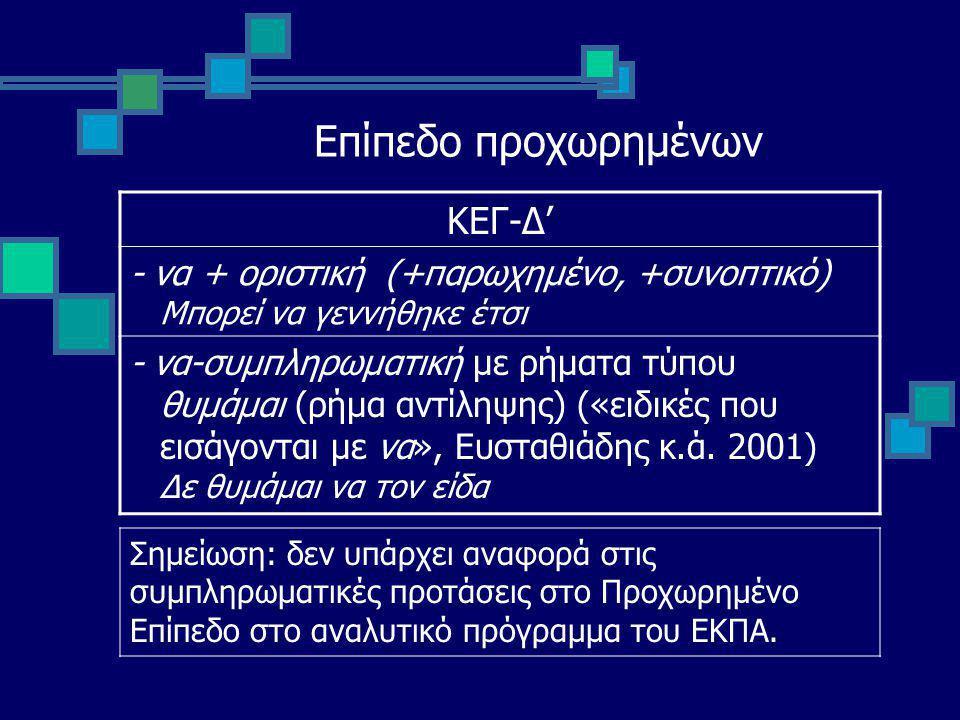Επίπεδο προχωρημένων ΚΕΓ-Δ' - να + οριστική (+παρωχημένο, +συνοπτικό) Μπορεί να γεννήθηκε έτσι - να-συμπληρωματική με ρήματα τύπου θυμάμαι (ρήμα αντίληψης) («ειδικές που εισάγονται με να», Ευσταθιάδης κ.ά.