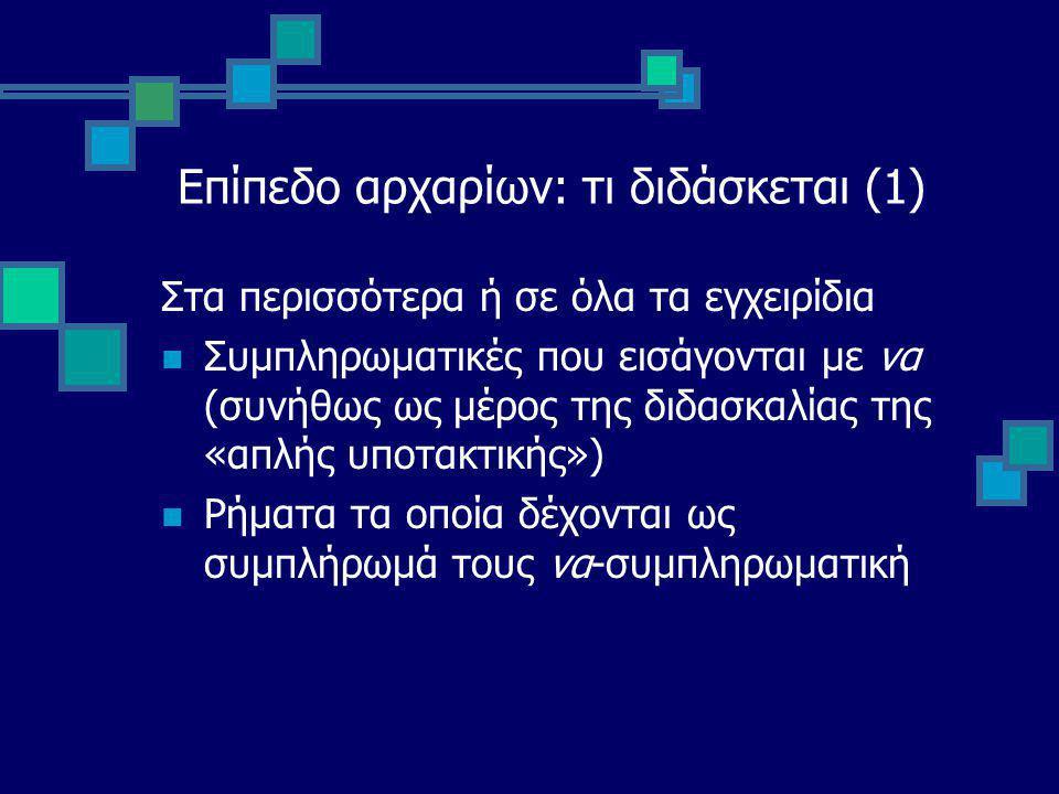 Επίπεδο αρχαρίων: τι διδάσκεται (1) Στα περισσότερα ή σε όλα τα εγχειρίδια Συμπληρωματικές που εισάγονται με να (συνήθως ως μέρος της διδασκαλίας της «απλής υποτακτικής») Ρήματα τα οποία δέχονται ως συμπλήρωμά τους να-συμπληρωματική