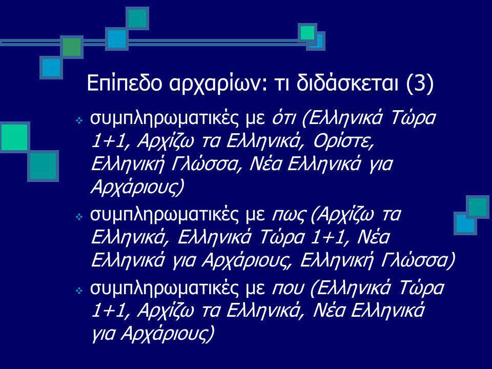 Επίπεδο αρχαρίων: τι διδάσκεται (3)  συμπληρωματικές με ότι (Ελληνικά Τώρα 1+1, Αρχίζω τα Ελληνικά, Ορίστε, Ελληνική Γλώσσα, Νέα Ελληνικά για Αρχάριους)  συμπληρωματικές με πως (Αρχίζω τα Ελληνικά, Ελληνικά Τώρα 1+1, Νέα Ελληνικά για Αρχάριους, Ελληνική Γλώσσα)  συμπληρωματικές με που (Ελληνικά Τώρα 1+1, Αρχίζω τα Ελληνικά, Νέα Ελληνικά για Αρχάριους)