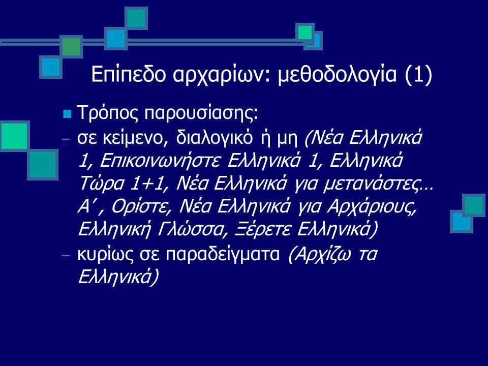 Επίπεδο αρχαρίων: μεθοδολογία (1) Τρόπος παρουσίασης: – σε κείμενο, διαλογικό ή μη ( Νέα Ελληνικά 1, Επικοινωνήστε Ελληνικά 1, Ελληνικά Τώρα 1+1, Νέα Ελληνικά για μετανάστες… Α', Ορίστε, Νέα Ελληνικά για Αρχάριους, Ελληνική Γλώσσα, Ξέρετε Ελληνικά) – κυρίως σε παραδείγματα (Αρχίζω τα Ελληνικά)