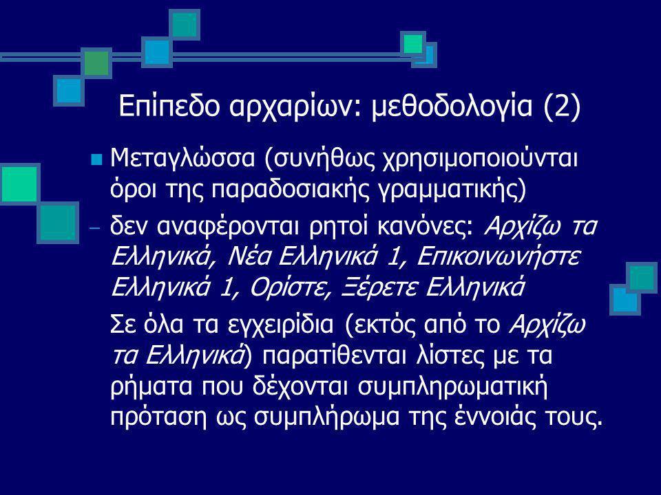 Επίπεδο αρχαρίων: μεθοδολογία (2) Μεταγλώσσα (συνήθως χρησιμοποιούνται όροι της παραδοσιακής γραμματικής) – δεν αναφέρονται ρητοί κανόνες: Αρχίζω τα Ελληνικά, Νέα Ελληνικά 1, Επικοινωνήστε Ελληνικά 1, Ορίστε, Ξέρετε Ελληνικά Σε όλα τα εγχειρίδια (εκτός από το Αρχίζω τα Ελληνικά) παρατίθενται λίστες με τα ρήματα που δέχονται συμπληρωματική πρόταση ως συμπλήρωμα της έννοιάς τους.