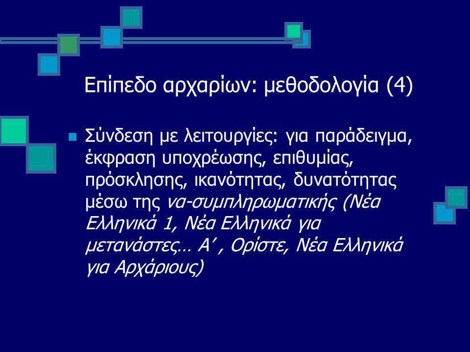 Επίπεδο αρχαρίων: μεθοδολογία (4) Σύνδεση με λειτουργίες: για παράδειγμα, έκφραση υποχρέωσης, επιθυμίας, πρόσκλησης, ικανότητας, δυνατότητας μέσω της να-συμπληρωματικής (Νέα Ελληνικά 1, Νέα Ελληνικά για μετανάστες… Α', Ορίστε, Νέα Ελληνικά για Αρχάριους)