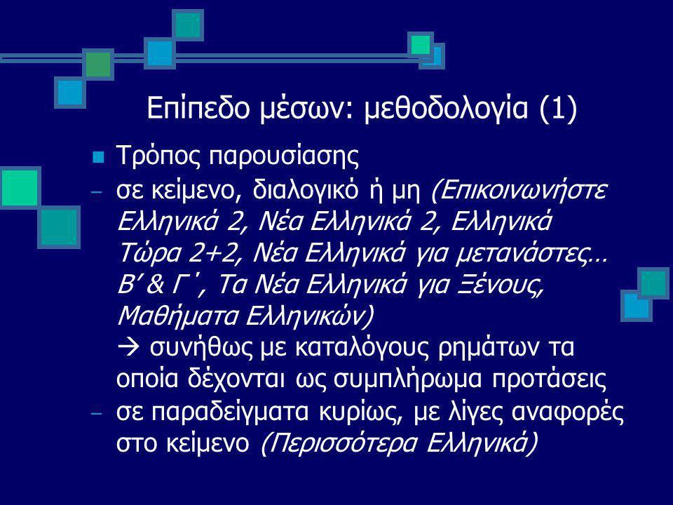 Επίπεδο μέσων: μεθοδολογία (1) Τρόπος παρουσίασης – σε κείμενο, διαλογικό ή μη (Επικοινωνήστε Ελληνικά 2, Νέα Ελληνικά 2, Ελληνικά Τώρα 2+2, Νέα Ελληνικά για μετανάστες… Β' & Γ΄, Τα Νέα Ελληνικά για Ξένους, Μαθήματα Ελληνικών)  συνήθως με καταλόγους ρημάτων τα οποία δέχονται ως συμπλήρωμα προτάσεις – σε παραδείγματα κυρίως, με λίγες αναφορές στο κείμενο (Περισσότερα Ελληνικά)