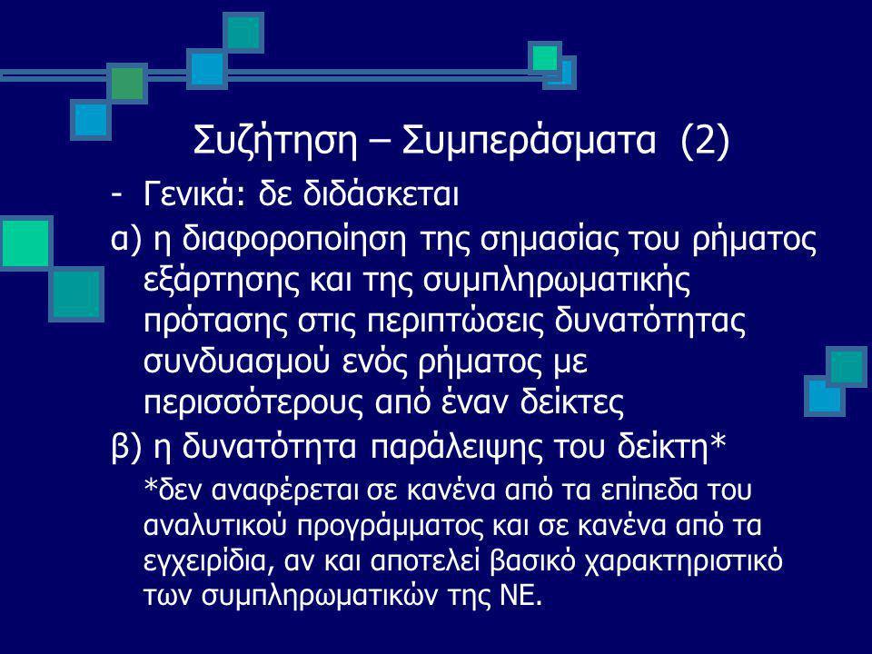 Συζήτηση – Συμπεράσματα (2) -Γενικά: δε διδάσκεται α) η διαφοροποίηση της σημασίας του ρήματος εξάρτησης και της συμπληρωματικής πρότασης στις περιπτώσεις δυνατότητας συνδυασμού ενός ρήματος με περισσότερους από έναν δείκτες β) η δυνατότητα παράλειψης του δείκτη* *δεν αναφέρεται σε κανένα από τα επίπεδα του αναλυτικού προγράμματος και σε κανένα από τα εγχειρίδια, αν και αποτελεί βασικό χαρακτηριστικό των συμπληρωματικών της ΝΕ.