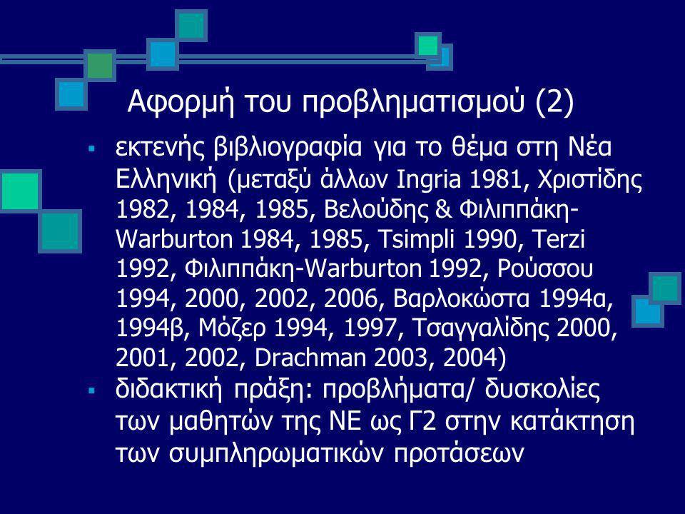 Αφορμή του προβληματισμού (2)  εκτενής βιβλιογραφία για το θέμα στη Νέα Ελληνική (μεταξύ άλλων Ingria 1981, Χριστίδης 1982, 1984, 1985, Βελούδης & Φιλιππάκη- Warburton 1984, 1985, Tsimpli 1990, Terzi 1992, Φιλιππάκη-Warburton 1992, Ρούσσου 1994, 2000, 2002, 2006, Βαρλοκώστα 1994α, 1994β, Μόζερ 1994, 1997, Τσαγγαλίδης 2000, 2001, 2002, Drachman 2003, 2004)  διδακτική πράξη: προβλήματα/ δυσκολίες των μαθητών της ΝΕ ως Γ2 στην κατάκτηση των συμπληρωματικών προτάσεων