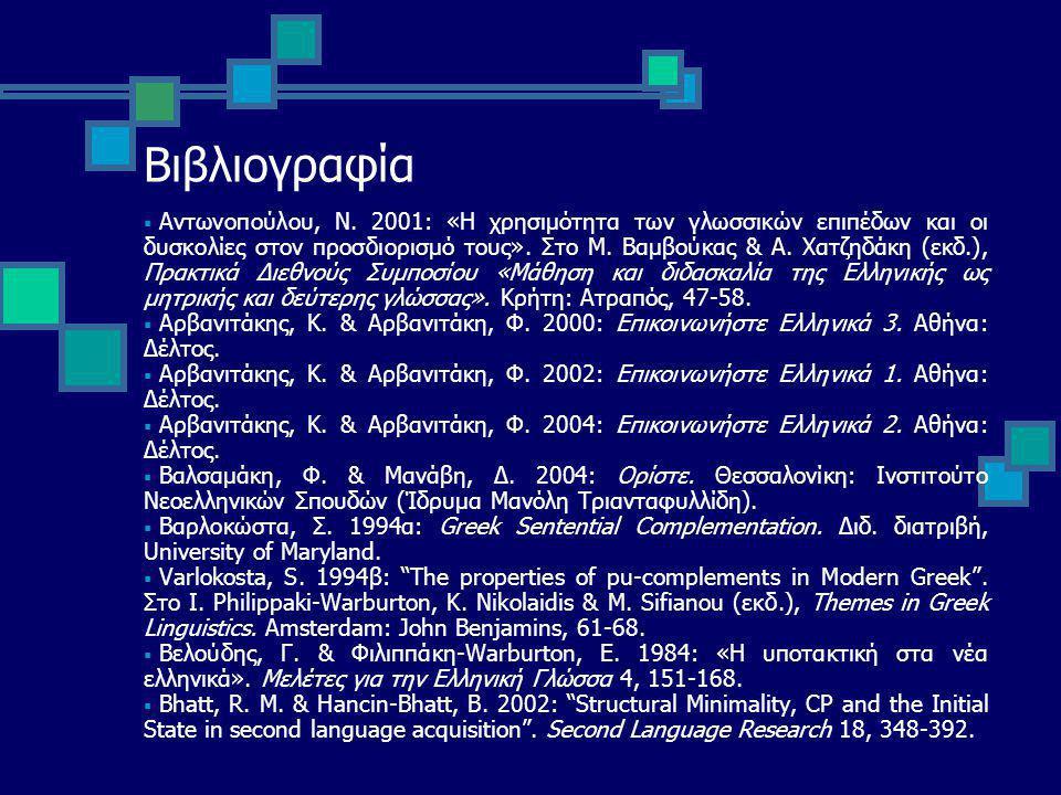 Βιβλιογραφία  Αντωνοπούλου, Ν.