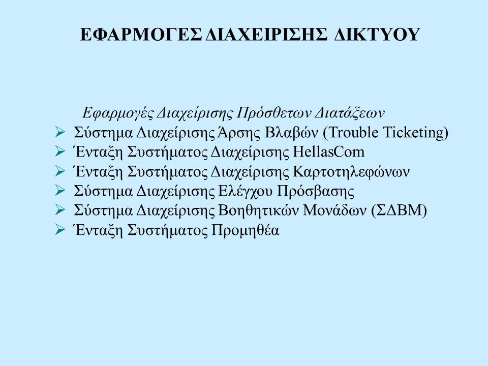 Εφαρμογές Διαχείρισης Πρόσθετων Διατάξεων  Σύστημα Διαχείρισης Άρσης Βλαβών (Trouble Ticketing)  Ένταξη Συστήματος Διαχείρισης HellasCom  Ένταξη Συ