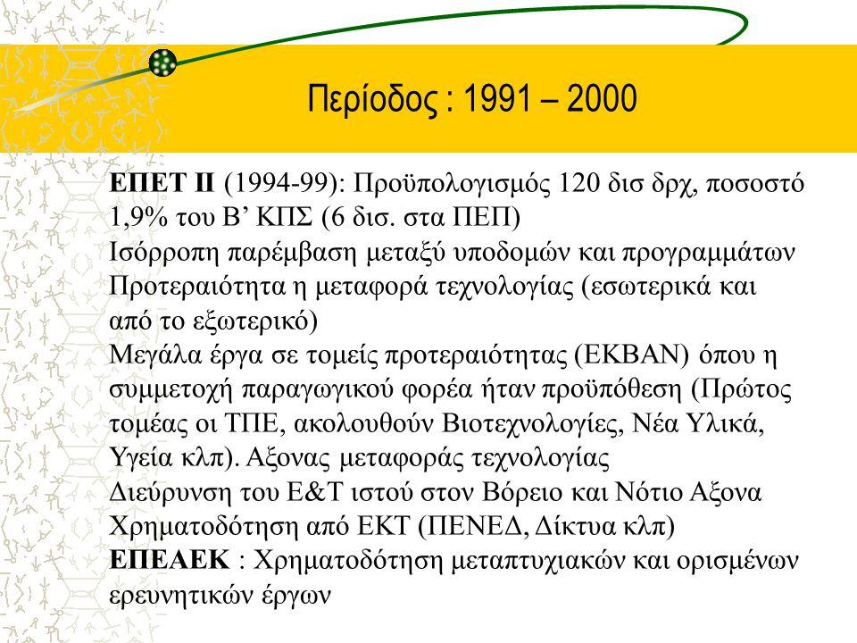 Περίοδος : 1991 – 2000 ΕΠΕΤ ΙΙ (1994-99): Προϋπολογισμός 120 δισ δρχ, ποσοστό 1,9% του Β' ΚΠΣ (6 δισ. στα ΠΕΠ) Ισόρροπη παρέμβαση μεταξύ υποδομών και