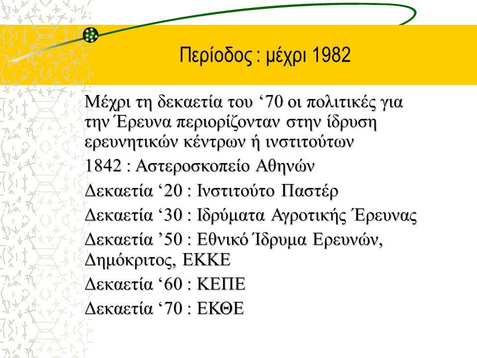 Περίοδος : μέχρι 1982 Μέχρι τη δεκαετία του '70 οι πολιτικές για την Έρευνα περιορίζονταν στην ίδρυση ερευνητικών κέντρων ή ινστιτούτων 1842 : Αστεροσκοπείο Αθηνών Δεκαετία '20 : Ινστιτούτο Παστέρ Δεκαετία '30 : Ιδρύματα Αγροτικής Έρευνας Δεκαετία '50 : Εθνικό Ίδρυμα Ερευνών, Δημόκριτος, ΕΚΚΕ Δεκαετία '60 : ΚΕΠΕ Δεκαετία '70 : ΕΚΘΕ