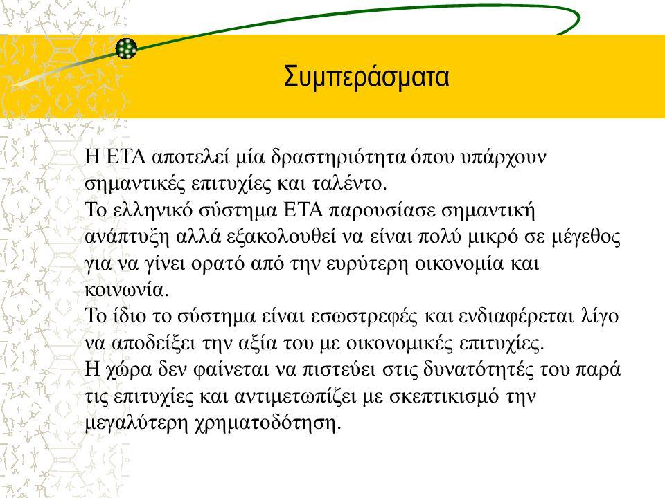 Συμπεράσματα Η ΕΤΑ αποτελεί μία δραστηριότητα όπου υπάρχουν σημαντικές επιτυχίες και ταλέντο. Το ελληνικό σύστημα ΕΤΑ παρουσίασε σημαντική ανάπτυξη αλ