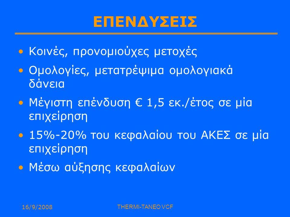 16/9/2008THERMI-TANEO VCF ΕΠΕΝΔΥΣΕΙΣ Κοινές, προνομιούχες μετοχές Ομολογίες, μετατρέψιμα ομολογιακά δάνεια Μέγιστη επένδυση € 1,5 εκ./έτος σε μία επιχείρηση 15%-20% του κεφαλαίου του ΑΚΕΣ σε μία επιχείρηση Μέσω αύξησης κεφαλαίων