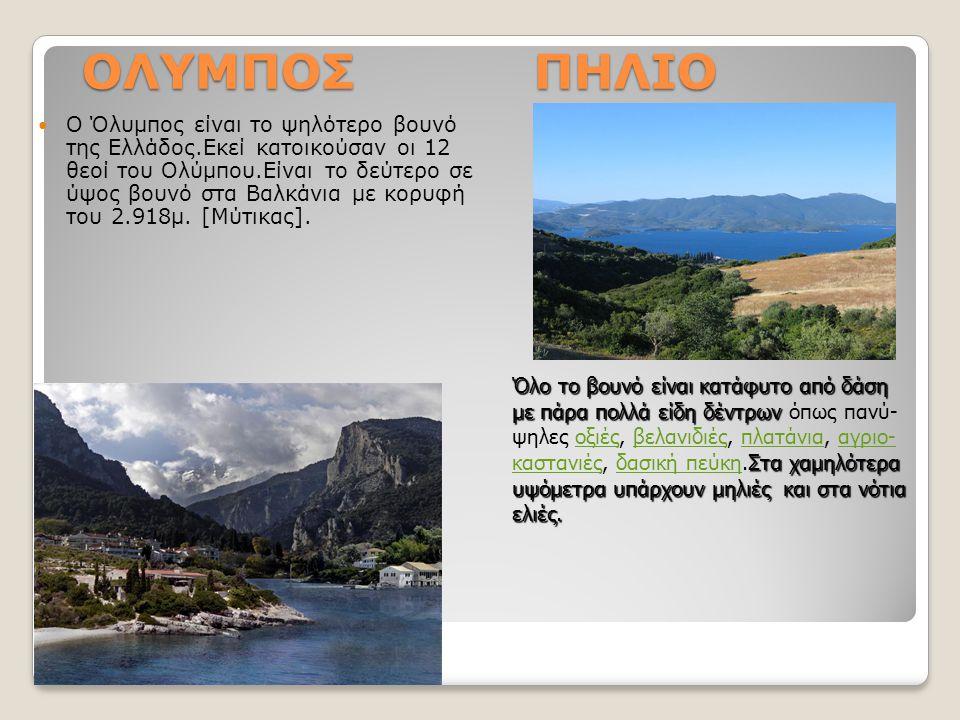 ΟΛΥΜΠΟΣ ΠΗΛΙΟ Ο Όλυμπος είναι το ψηλότερο βουνό της Ελλάδος.Εκεί κατοικούσαν οι 12 θεοί του Ολύμπου.Είναι το δεύτερο σε ύψος βουνό στα Βαλκάνια με κορ