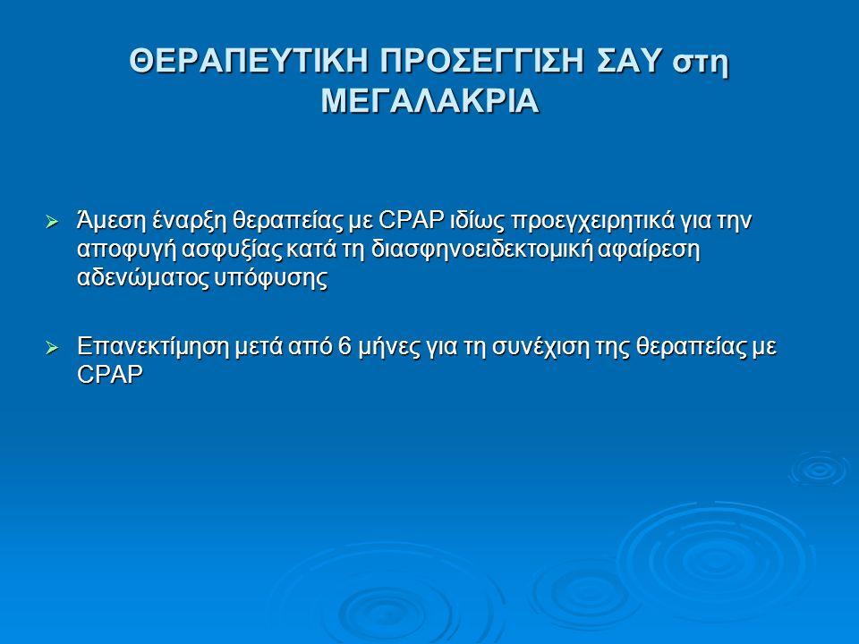 ΘΕΡΑΠΕΥΤΙΚΗ ΠΡΟΣΕΓΓΙΣΗ ΣΑΥ στη ΜΕΓΑΛΑΚΡΙΑ  Άμεση έναρξη θεραπείας με CPAP ιδίως προεγχειρητικά για την αποφυγή ασφυξίας κατά τη διασφηνοειδεκτομική α