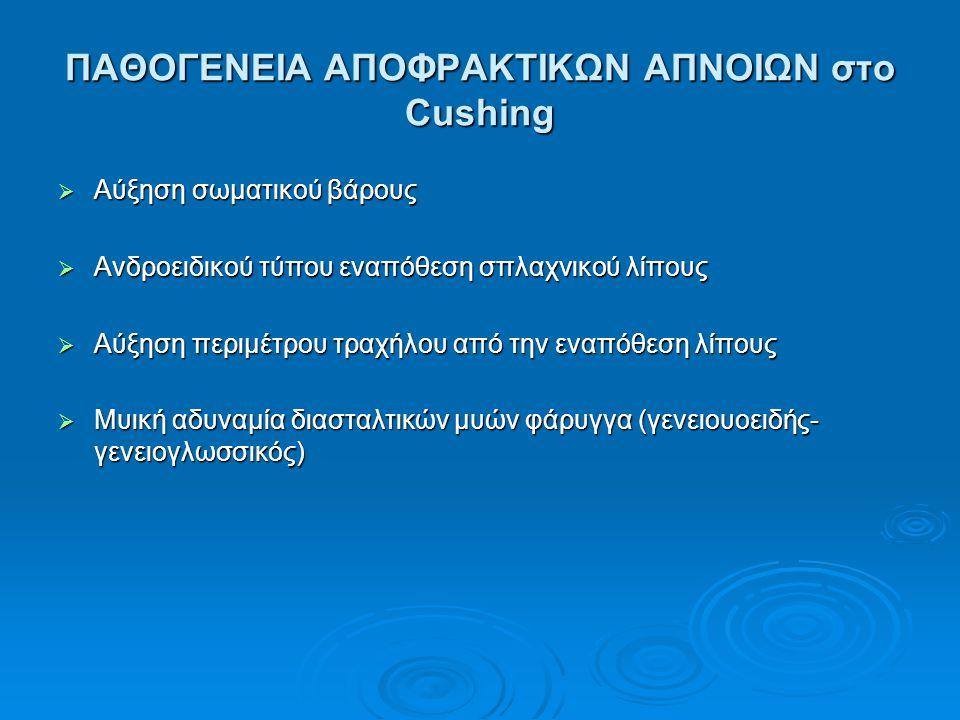 ΠΑΘΟΓΕΝΕΙΑ ΑΠΟΦΡΑΚΤΙΚΩΝ ΑΠΝΟΙΩΝ στο Cushing  Aύξηση σωματικού βάρους  Ανδροειδικού τύπου εναπόθεση σπλαχνικού λίπους  Αύξηση περιμέτρου τραχήλου απ