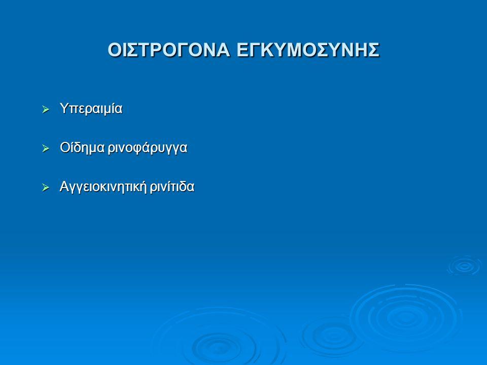 ΟΙΣΤΡΟΓΟΝΑ ΕΓΚΥΜΟΣΥΝΗΣ  Υπεραιμία  Οίδημα ρινοφάρυγγα  Αγγειοκινητική ρινίτιδα