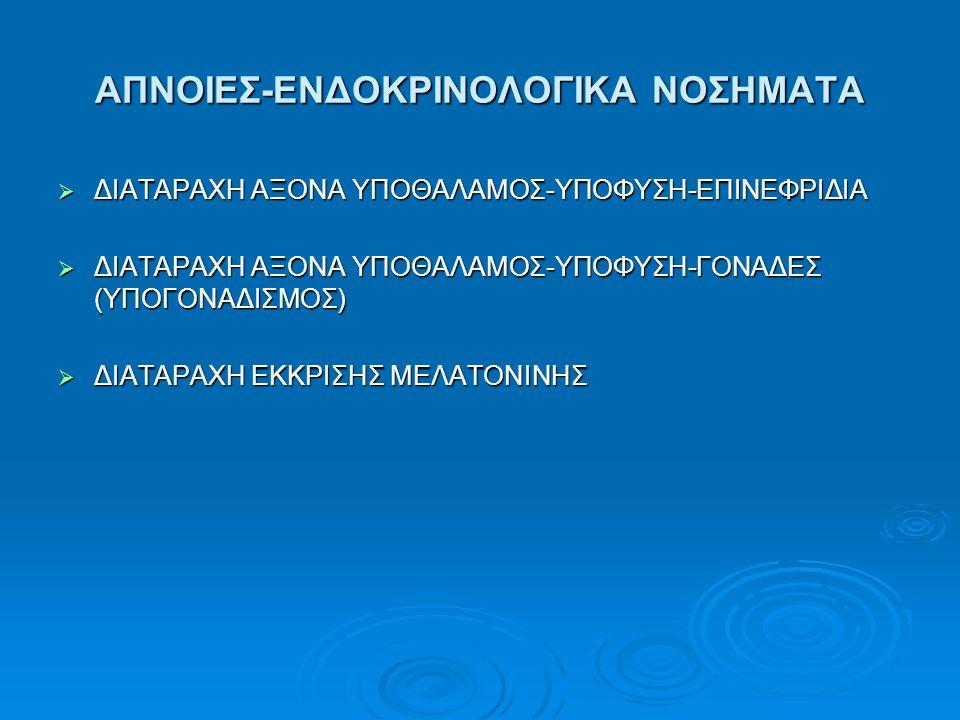 ΑΠΝΟΙΕΣ-ΕΝΔΟΚΡΙΝΟΛΟΓΙΚΑ ΝΟΣΗΜΑΤΑ  ΔΙΑΤΑΡΑΧΗ ΑΞΟΝΑ ΥΠΟΘΑΛΑΜΟΣ-ΥΠΟΦΥΣΗ-ΕΠΙΝΕΦΡΙΔΙΑ  ΔΙΑΤΑΡΑΧΗ ΑΞΟΝΑ ΥΠΟΘΑΛΑΜΟΣ-ΥΠΟΦΥΣΗ-ΓΟΝΑΔΕΣ (ΥΠΟΓΟΝΑΔΙΣΜΟΣ)  ΔΙΑΤΑ