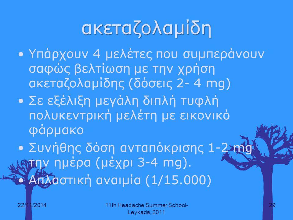 ακεταζολαμίδη Υπάρχουν 4 μελέτες που συμπεράνουν σαφώς βελτίωση με την χρήση ακεταζολαμίδης (δόσεις 2- 4 mg) Σε εξέλιξη μεγάλη διπλή τυφλή πολυκεντρικ