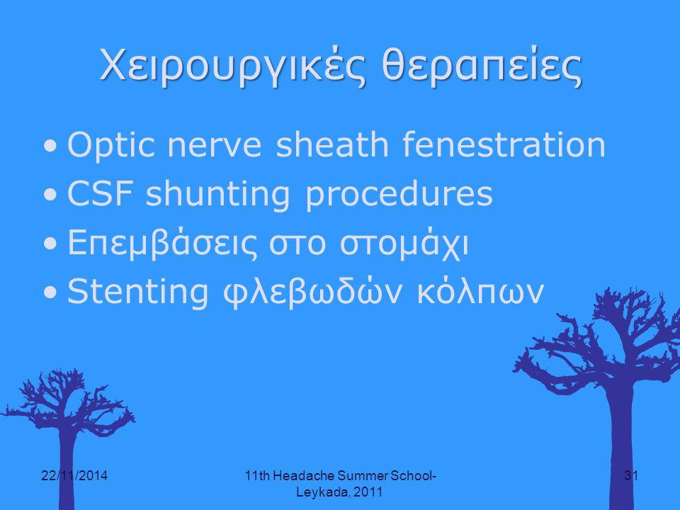 Χειρουργικές θεραπείες Optic nerve sheath fenestration CSF shunting procedures Επεμβάσεις στο στομάχι Stenting φλεβωδών κόλπων 22/11/201411th Headache