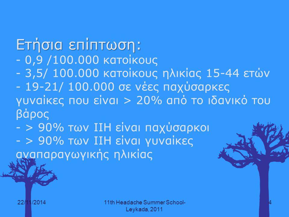 22/11/201411th Headache Summer School- Leykada, 2011 4 Ετήσια επίπτωση: - 0,9 /100.000 κατοίκους - 3,5/ 100.000 κατοίκους ηλικίας 15-44 ετών - 19-21/