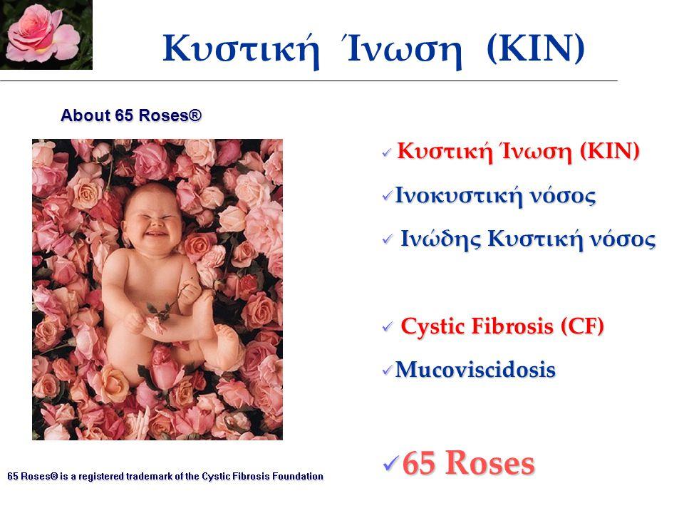 Κυστική Ίνωση (ΚΙΝ) Κυστική Ίνωση (ΚΙΝ) Ινοκυστική νόσος Ινοκυστική νόσος Ινώδης Κυστική νόσος Ινώδης Κυστική νόσος Cystic Fibrosis (CF) Cystic Fibrosis (CF) Mucoviscidosis Mucoviscidosis 65 Roses 65 Roses 65 Roses® is a registered trademark of the Cystic Fibrosis Foundation About 65 Roses® Κυστική Ίνωση (ΚΙΝ)