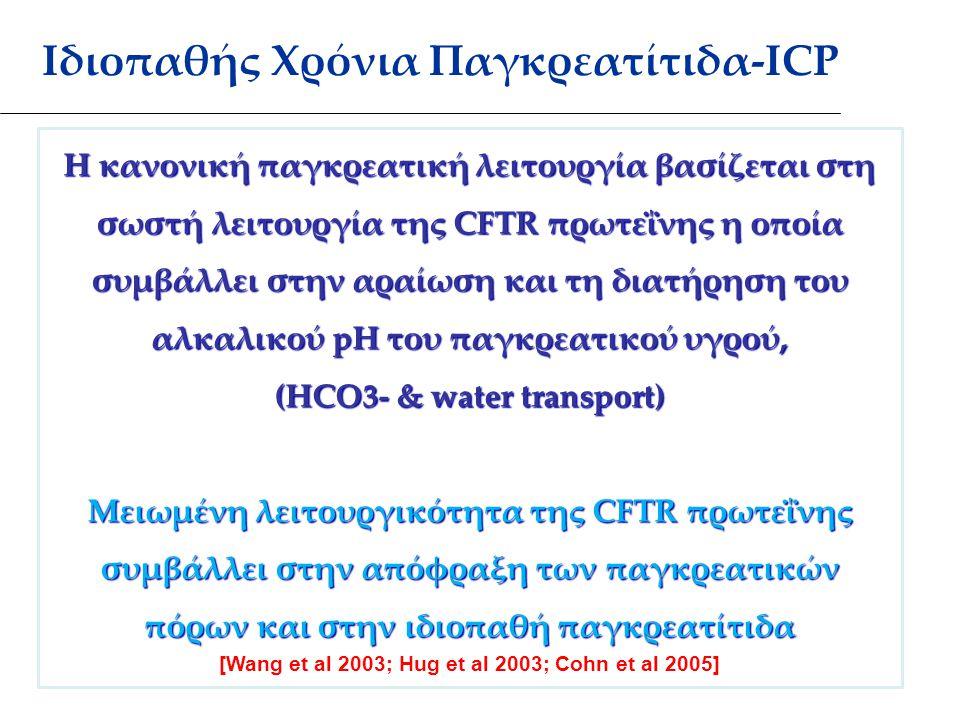 Ιδιοπαθής Χρόνια Παγκρεατίτιδα-ICP Η κανονική παγκρεατική λειτουργία βασίζεται στη σωστή λειτουργία της CFTR πρωτεΐνης η οποία συμβάλλει στην αραίωση και τη διατήρηση του αλκαλικού pH του παγκρεατικού υγρού, (HCO3- & water transport) Μειωμένη λειτουργικότητα της CFTR πρωτεΐνης συμβάλλει στην απόφραξη των παγκρεατικών πόρων και στην ιδιοπαθή παγκρεατίτιδα [Wang et al 2003; Hug et al 2003; Cohn et al 2005]