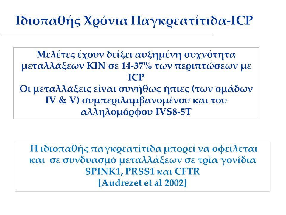Μελέτες έχουν δείξει αυξημένη συχνότητα μεταλλάξεων ΚΙΝ σε 14-37% των περιπτώσεων με ICP Οι μεταλλάξεις είναι συνήθως ήπιες (των ομάδων IV & V) συμπεριλαμβανομένου και του αλληλομόρφου IVS8-5T Η ιδιοπαθής παγκρεατίτιδα μπορεί να οφείλεται και σε συνδυασμό μεταλλάξεων σε τρία γονίδια SPINK1, PRSS1 και CFTR Η ιδιοπαθής παγκρεατίτιδα μπορεί να οφείλεται και σε συνδυασμό μεταλλάξεων σε τρία γονίδια SPINK1, PRSS1 και CFTR [Audrezet et al 2002] Η ιδιοπαθής παγκρεατίτιδα μπορεί να οφείλεται και σε συνδυασμό μεταλλάξεων σε τρία γονίδια SPINK1, PRSS1 και CFTR Η ιδιοπαθής παγκρεατίτιδα μπορεί να οφείλεται και σε συνδυασμό μεταλλάξεων σε τρία γονίδια SPINK1, PRSS1 και CFTR [Audrezet et al 2002] Ιδιοπαθής Χρόνια Παγκρεατίτιδα-ICP