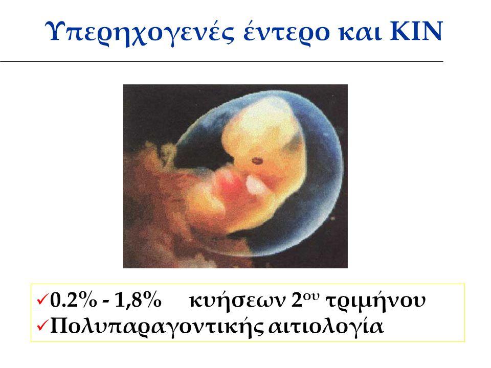 Υπερηχογενές έντερο και ΚΙΝ 0.2% - 1,8% κυήσεων 2 ου τριμήνου Πολυπαραγοντικής αιτιολογία