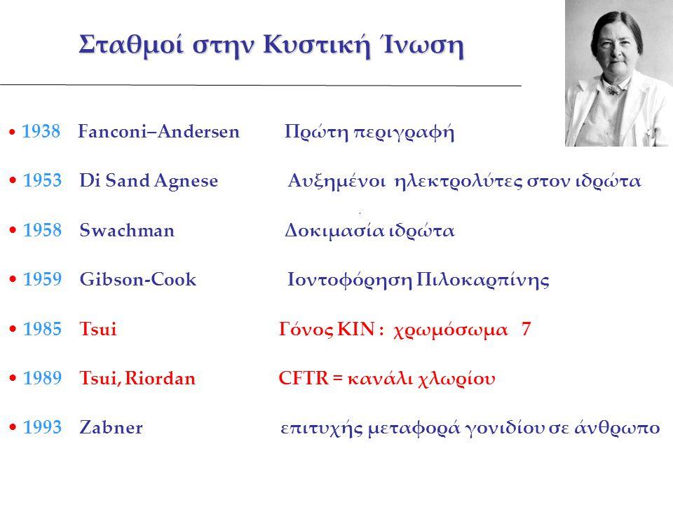 Σταθμοί στην Κυστική Ίνωση 1938 Fanconi–Andersen Πρώτη περιγραφή 1953 Di Sand Agnese Αυξημένοι ηλεκτρολύτες στον ιδρώτα 1958 Swachman Δοκιμασία ιδρώτα 1959 Gibson-Cook Ιοντοφόρηση Πιλοκαρπίνης 1985 Tsui Γόνος ΚΙΝ : χρωμόσωμα 7 1989 Tsui, Riordan CFTR = κανάλι χλωρίου 1993 Zabner επιτυχής μεταφορά γονιδίου σε άνθρωπο