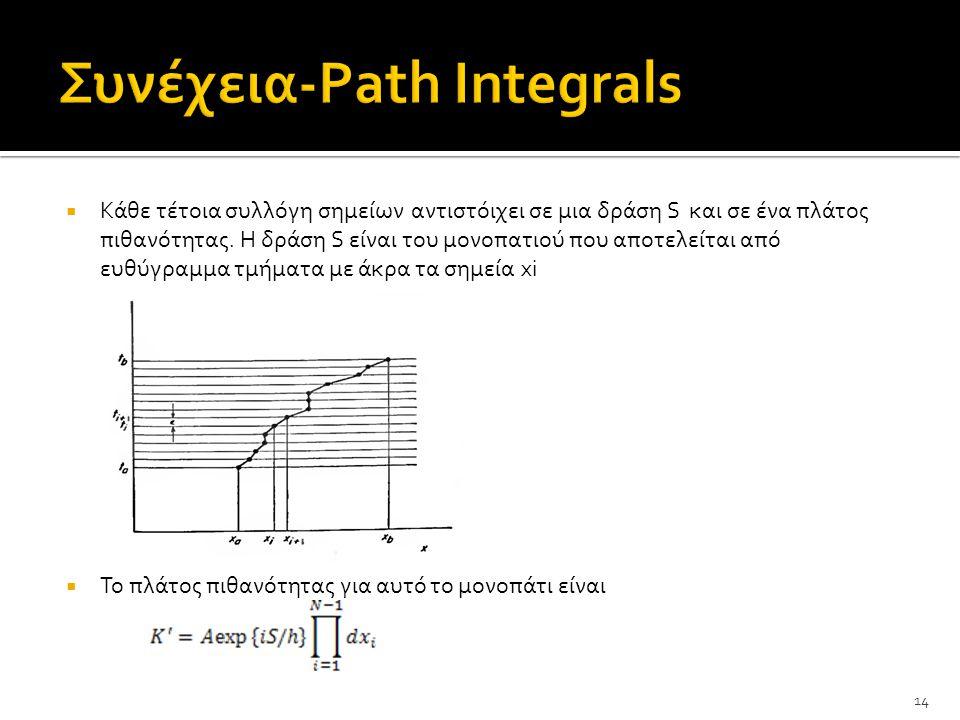  Κάθε τέτοια συλλόγη σημείων αντιστόιχει σε μια δράση S και σε ένα πλάτος πιθανότητας.