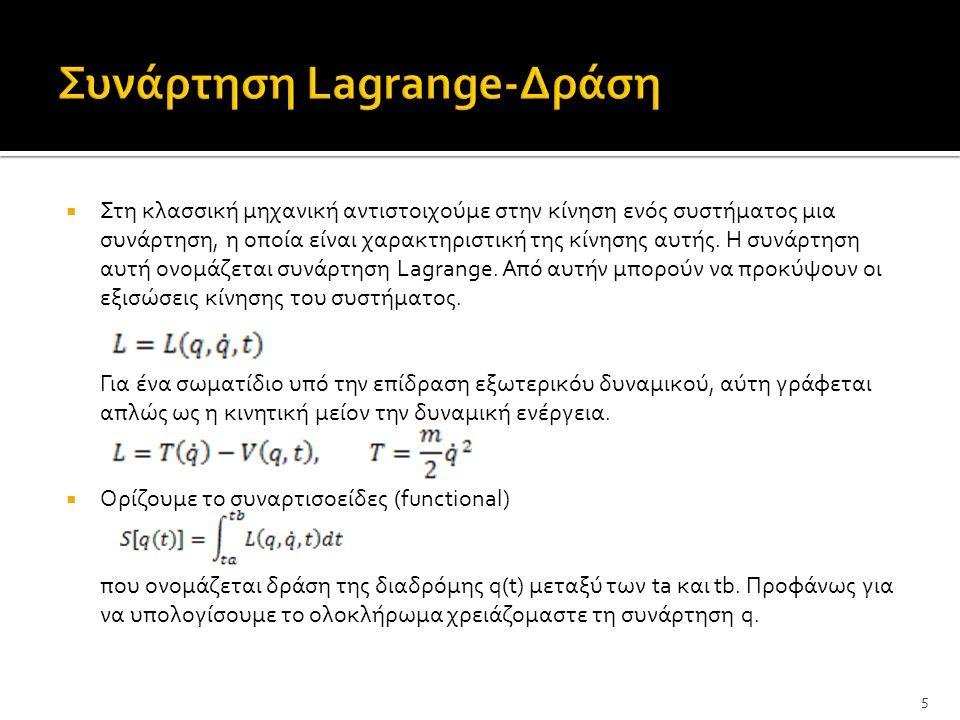  Οι κλασσικές εξισώσεις κίνησεις προκύπτουν από την απαίτηση, ότι η διαδρομή που ακολούθει το σύστημα είναι αύτη για την οποία η δράση S παρουσίαζει ακρότατο, για δεδομένες αρχικές συνθήκες q(t a )=q a, q(t b )=q b.