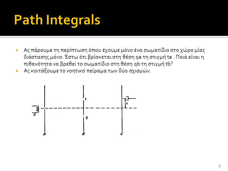  Πως προκύπτει η πιθανότητα να μετρήθει ένα ηλεκτρόνιο στη θέση x?Δύο κατηγορίες διαδρομών: μέσω της σχισμής 1 και 2.